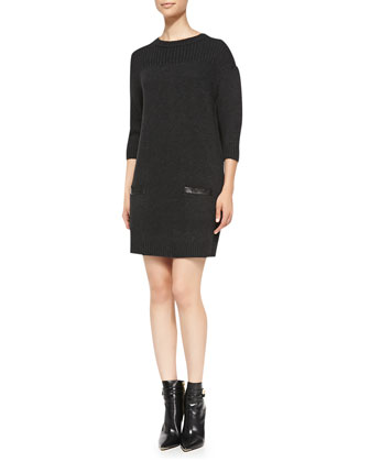 Back-Zip Rib-Trim Sweaterdress