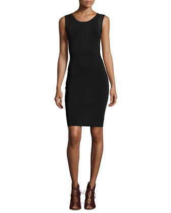 Sleeveless Knit-Mesh Zip-Back Dress, Black