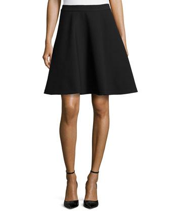 Flare Crepe Skirt, Black