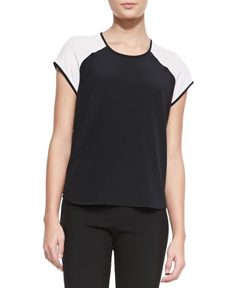 Liva Colorblock Silk Top, Black/White