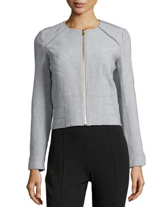Zip-Front Short Jacket, Heather Gray