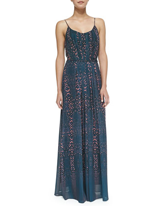 Eden Snake-Print Pleated Maxi Dress, Blue/coral