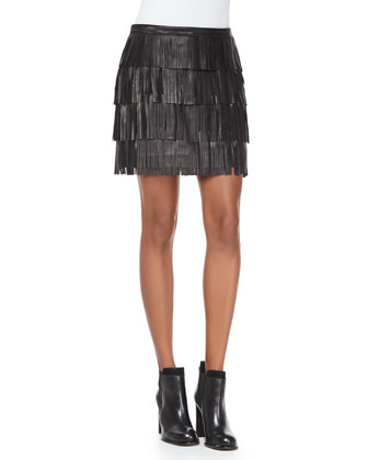 Lucca Tiered Fringed Leather Miniskirt, Black