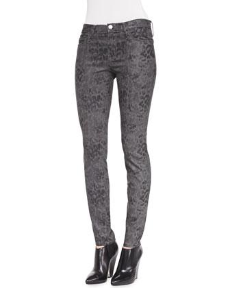 Skinny Ankle Python-Print Pants