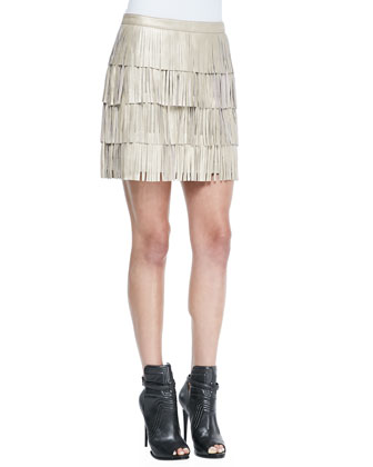 Lucca Leather Fringe Mini Skirt, Gold