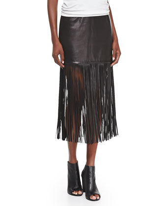 Fringe-Trim Leather Long Skirt, Black