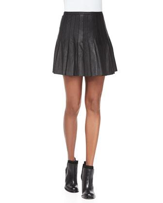 Pleated Leather Miniskirt, Black