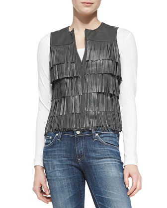 Tiered-Fringe Leather Vest, Charcoal