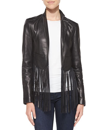 Fringe-Trim Leather Jacket, Black