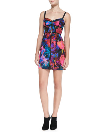 Nadia Floral-Bouquet-Print Corset Dress, Pink