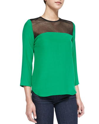 Sharon Mesh-Contrast Silk Top, Kelly Green