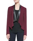 Faux-Leather-Trim Cascade-Front Blazer, Wine