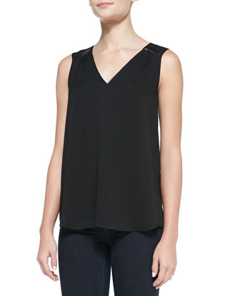Sonoma Faux-Leather-Trim Crepe Tank, Black
