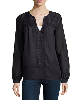 Andrea Long-Sleeve Lace-Strip Top, Black