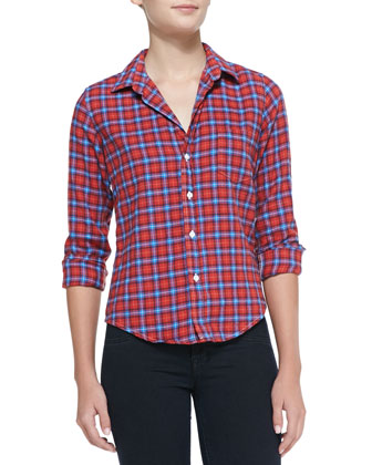 Barry Two-Tone Plaid Flannel Blouse, Red/Blue