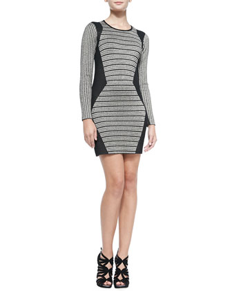 Long-Sleeve Mansel-Knit Sheath Dress