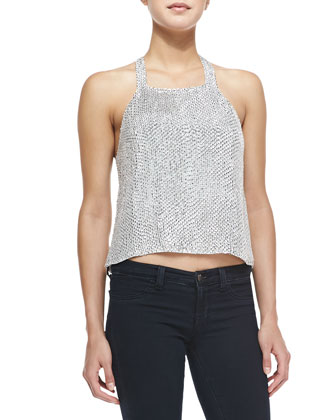 Justina Beaded Halter-Neck Tank
