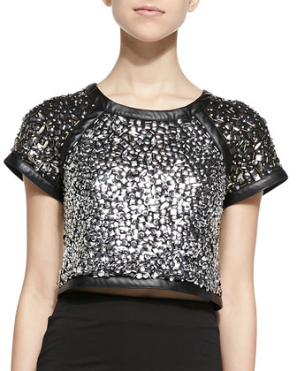 Bora Jeweled Short-Sleeve Crewneck Top