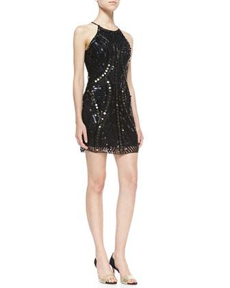 Jaden Bead & Sequin Open-Back Dress