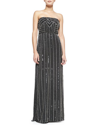Lovey Strapless Beaded Maxi Dress
