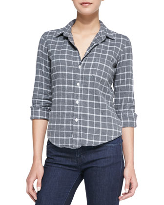 Barry Windowpane Check Flannel Shirt, Gray