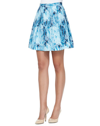 Lucine Printed Pleated A-Line Skirt