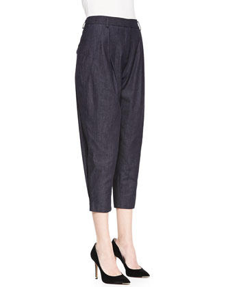 Gina Pleated Denim Tapered Pants