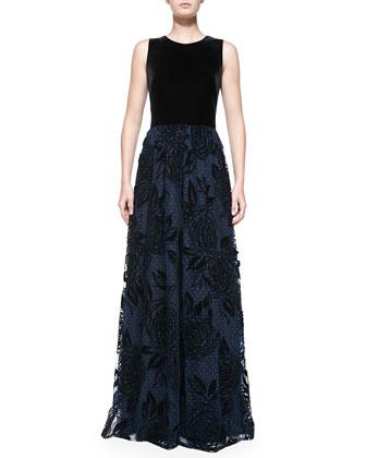 Sleeveless Gown W/ Flocked Point D'Esprit Skirt