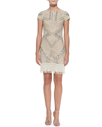 Beaded-Pattern Cocktail Dress w/ Fringe Hem