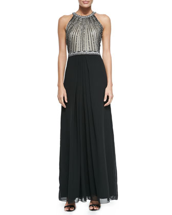 Halter-Neck Beaded-Bodice Gown