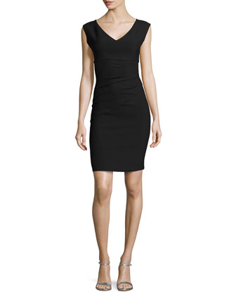Sleeveless V-Neck Asymmetric-Seamed Dress, Black