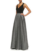 Sleeveless Metallic Tulle Gown