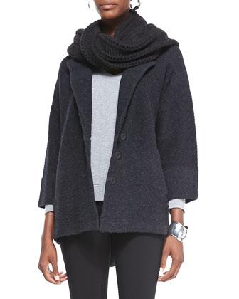 Merino Notch-Collar One-Button Jacket, V-Neck Cashmere Wedge Top, Organic ...