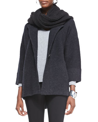 Merino Notch-Collar One-Button Jacket, Charcoal