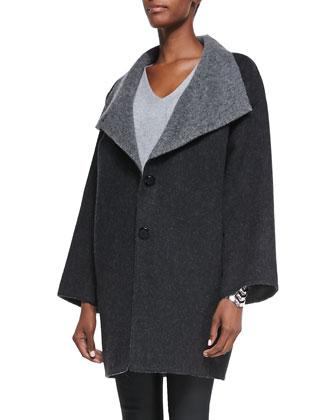 Double-Face Alpaca Cocoon-Shape Coat, Charcoal, Petite
