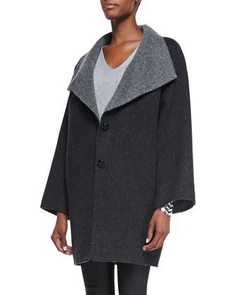 Double-Face Alpaca Cocoon-Shape Coat, Charcoal, Women's