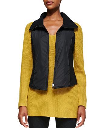 Boiled Wool Parka Vest, Petite
