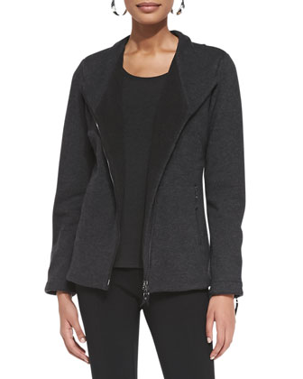 Asymmetric Zip-Front Wool-Blend Jacket, Petite