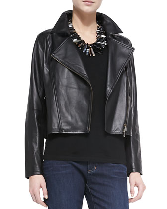 Lightweight Lambskin Leather Drapey Moto Jacket