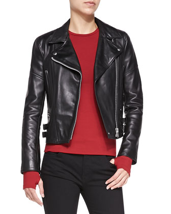 Joan Leather Moto Jacket, Basic Long-Sleeve Jersey Top & Flared-Leg Jeans