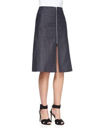 Tucked-Shoulder Half-Sleeve Knit Top & A-Line Front-Zip Denim Skirt