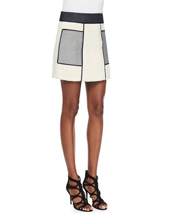Shantung/Ponte Sleeveless Bandage Top & Borg Tweed Patchwork Short Skirt