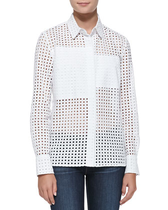 Basic Perforated Patchwork Cotton Shirt