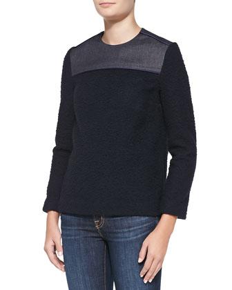 Tweed/Denim Combo Sweater