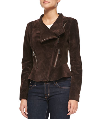 Suede Moto Jacket w/ Peplum, Chocolate