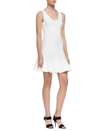 Perry Sleeveless Flutter Dress, White