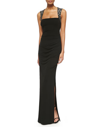 Beaded-Shoulder Jersey Gown