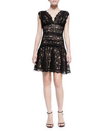 Sleeveless Fit & Flare Lace Cocktail Dress