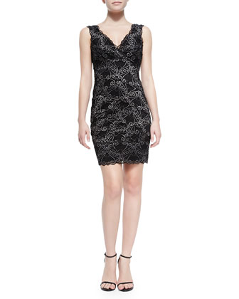 Sleeveless Scroll Lace Cocktail Dress