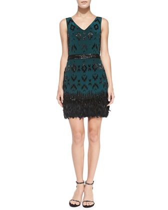 Feather-Hem Ikat Cocktail Dress